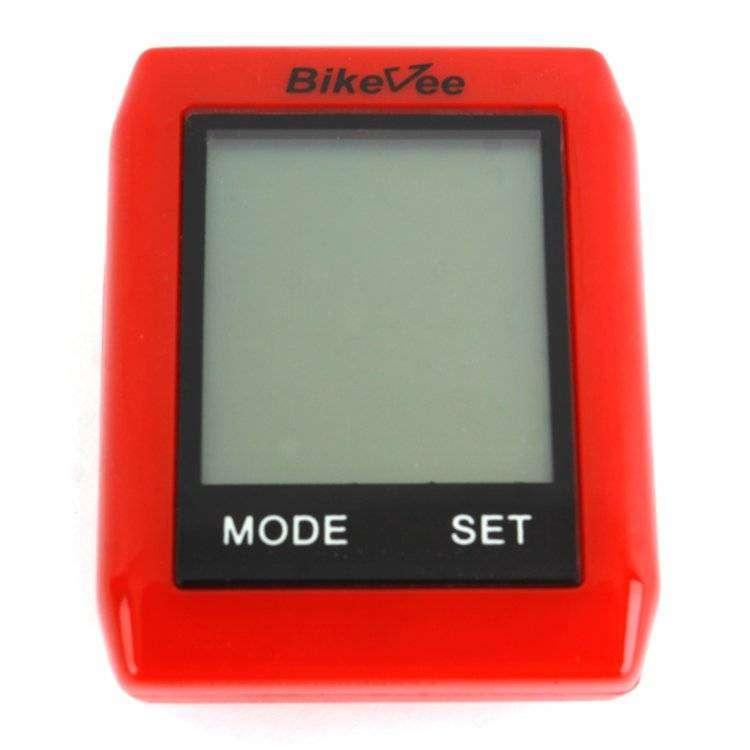 Велокомпьютер, беспроводной, BKV- 6000, 10 функций, быстросъемный, сенсорный, ч/б, C датчиком скорос (красный, 1CM000000021)